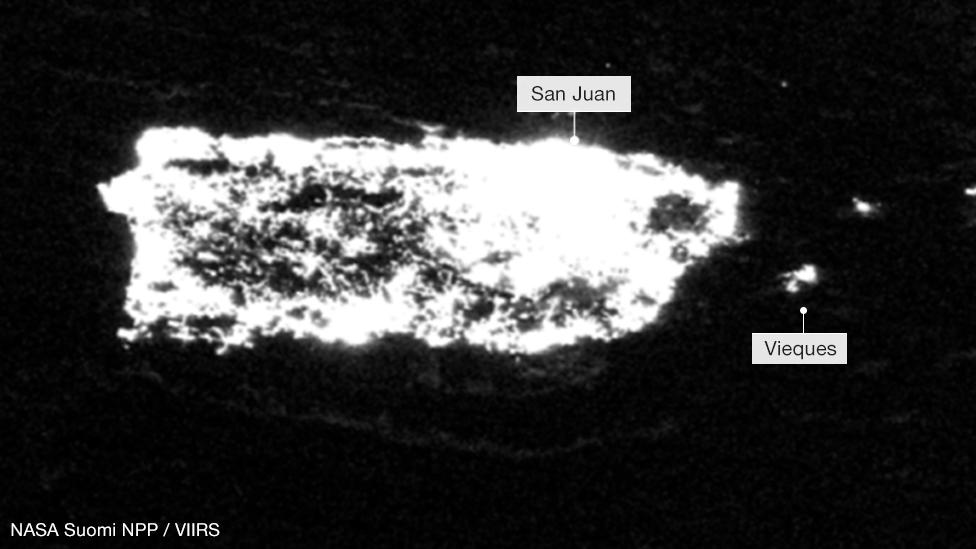 Imagen satelital en la que se ven las luces de Puerto Rico el 23 de julio de 2017