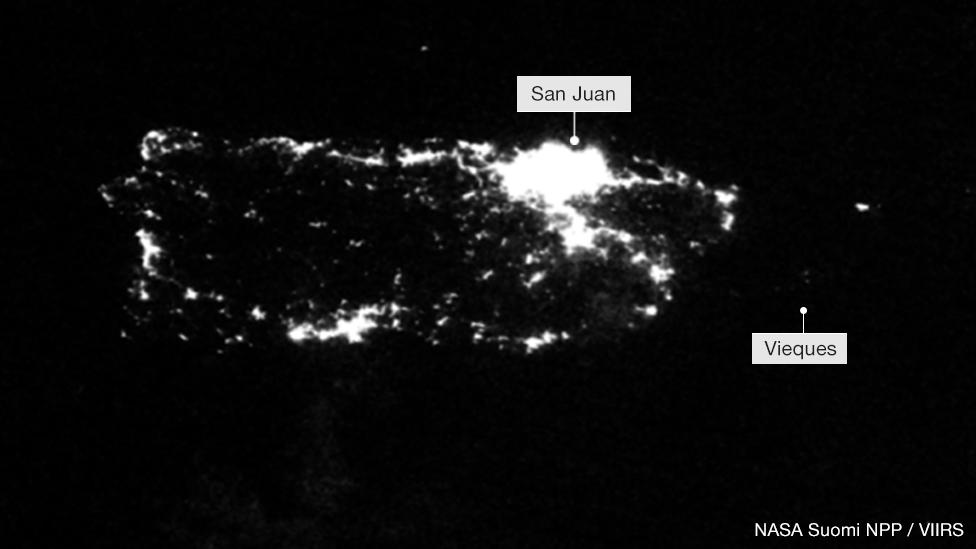 Imagen satelital en la que se ven las luces de Puerto Rico el 26 de septiembre de 2017