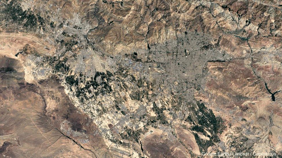 Satellite image of Tehran, 2016