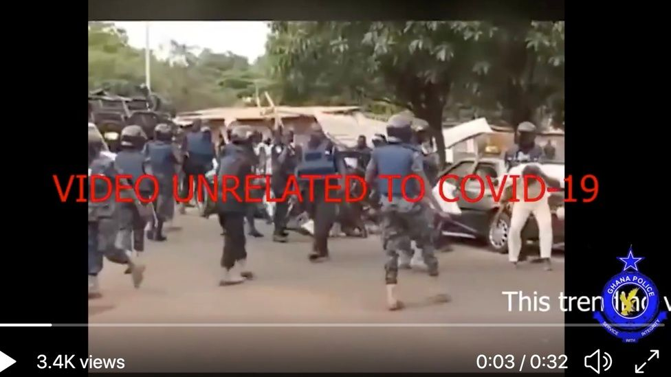 A crackdown in Ghana which was falsely linked to a supposed Covid-19 enforcement operation in Nigeria.