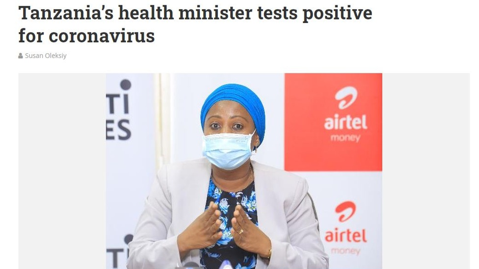 Screengrab of article with picture of Ummy Mwalimu saying she tested positive for Covid-19