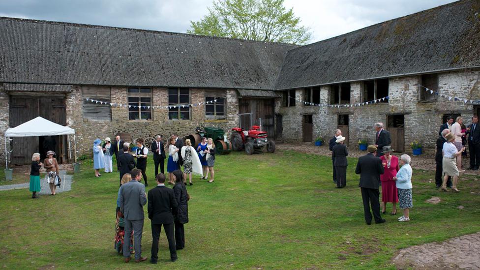 Medieval Llandefalle barn before it was destroyed