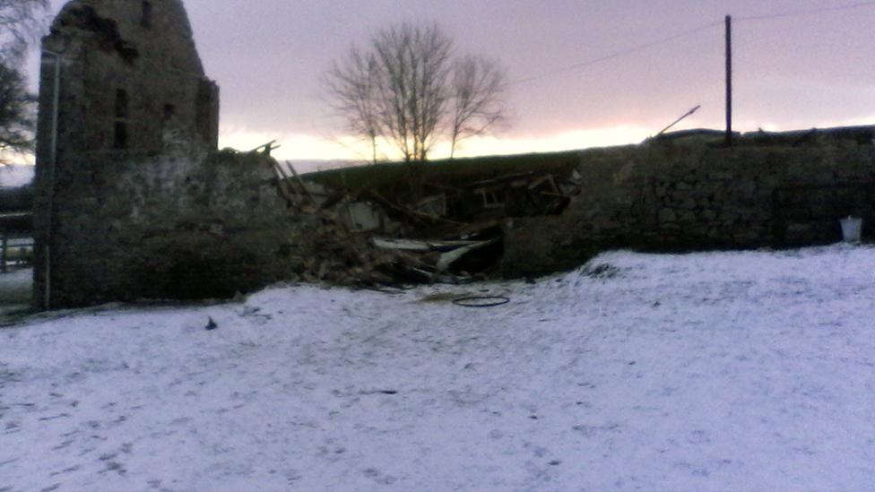 Medieval Llandefalle barn after it was destroyed