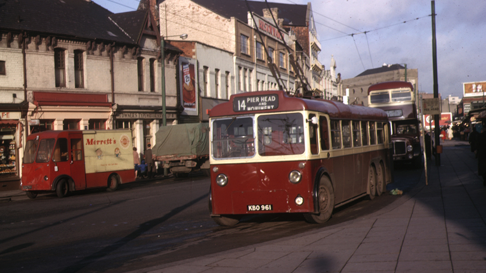 Trolleybus on the streets of Cardiff